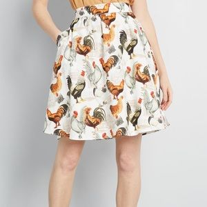 ModCloth Rooster Chicken Skirt